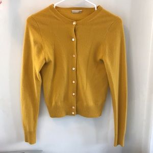 J Crew Cashmere Mustard Cardigan Sweater